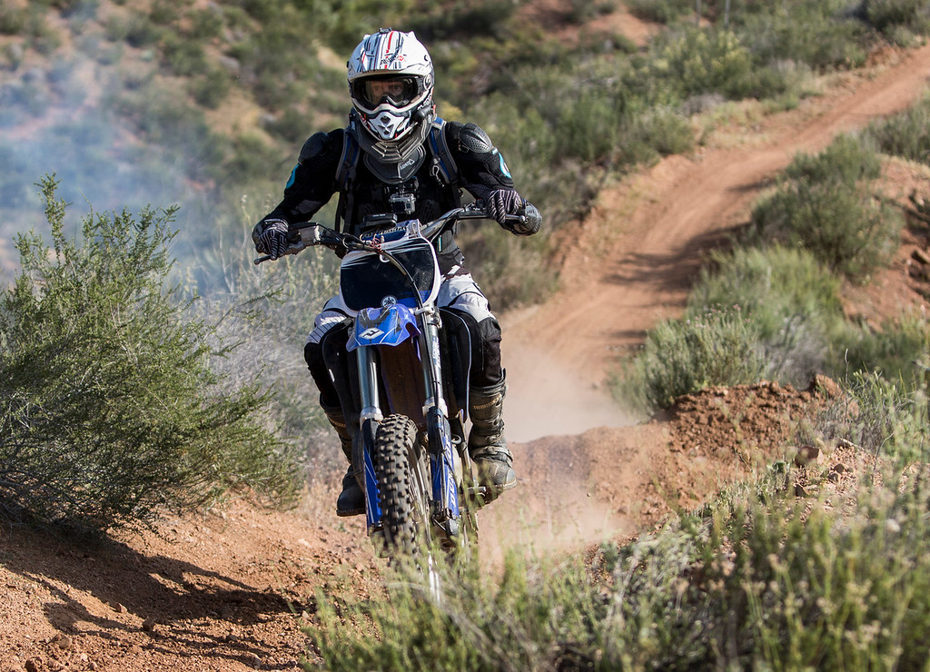 On April 15, 2015, Tom Jacques is blasting through a black diamond trail at Rowher Flats OHV area in Santa Clarita, Calif. (© Erica Jacques 2016)