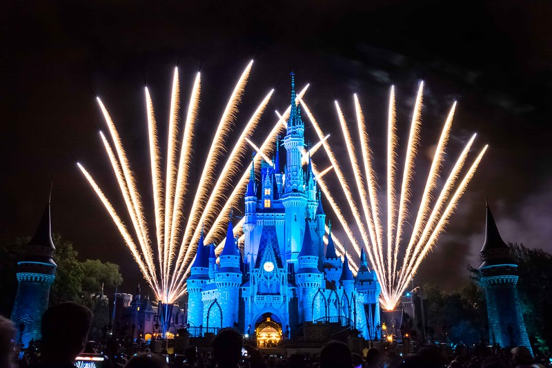 Long exposure of fireworks behind Cinderella's Castle in Disney's Magic Kingdom