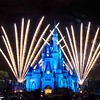 Long exposure of fireworks behind Cinderella's Castle in Disney's Magic Kingdom