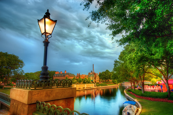 """The French Quarter of Disney Amazing Disneyworld! I am starting to switch my opinion about the best place to shoot in Disneyworld. I'm now thinking it is definitely Epcot. It used to be Animal Kingdom, which is still amazing.. but I find myself with more options and variety at Epcot, especially in the evening.Here's a great tip. If you stay at the resort, then go to Epcot on the """"bonus hours"""" evening. Then get yourself way out at the opposite end of the park when it closes. You can then take your time and leave, taking photos all along the way. It's pretty much absolutely deserted! The security guards did not seem to bother me either...- Trey RatcliffRead the rest here at the Stuck in Customs blog."""