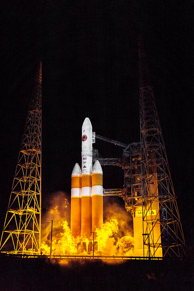 Delta IV Heavy igniting its engines prior to launching the Parker Solar Probe to the Sun.