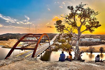 Pennybacker Bridge Sunset Couple