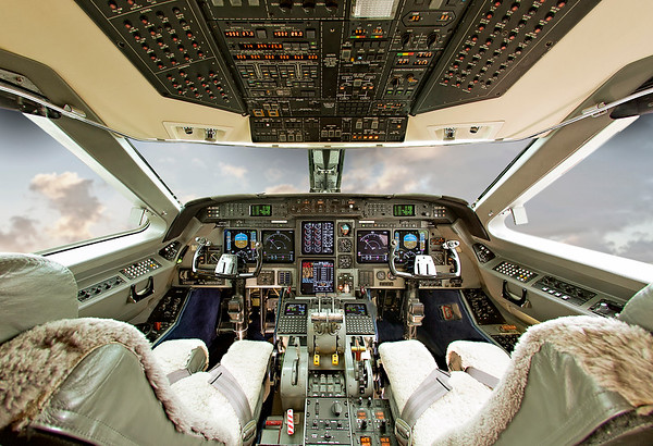 Plush trim cockpit with wide centered showcase of control panels and panoramic view of airspace. This single picture was edited multiple times to create various effects. This method of photography enables us to minimize shooting/photography time to help keep your planes in the air.