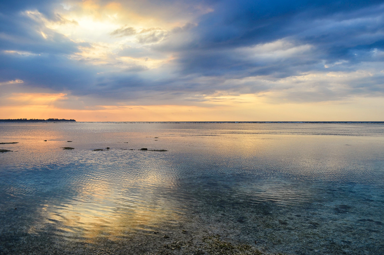 Reflections on the sea, Gili Air, Indonesia