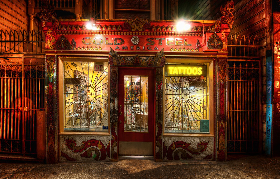 The Tattoo ShopI did a Google+ hangout last night where I worked on this photo. I took it just recently at the San Francisco PhotoWalk with Thomas Hawk. It was a great night... so many sights to be seen there.As usual, I had two cameras with me. One was for quick street shots with a 50mm prime. The other had my 14-24mm (see Nikon 14-24mm Review) on for these sorts of shots. I find that if I want to be on the sidewalk and take a photo of the store in front of me, I really need this kind of lens to squeeze it all in!- Trey RatcliffRead the rest, including some neat stuff about Google Ripples, here at the Stuck in Customs blog.