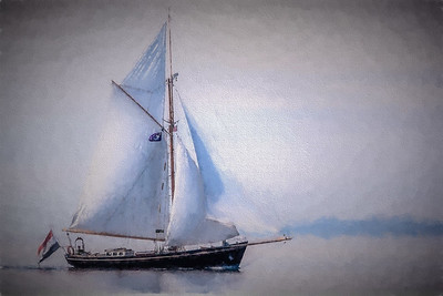 Gaff Cutter on Painted Ocean