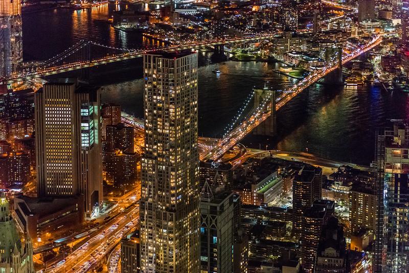 Manhattan & Brooklyn Bridges at Night