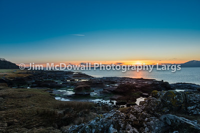 Portencross Jetty and Harbour Scotland on a Cold Sunset on Christmas Eve.
