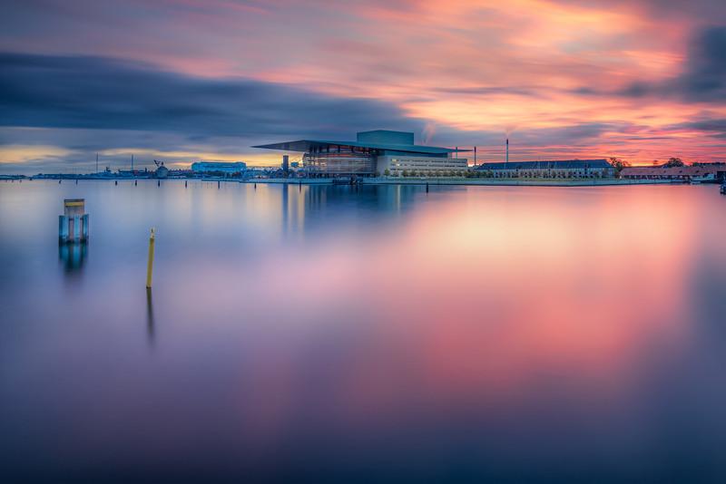 The Operahouse of Copenhagen just before Sunrise
