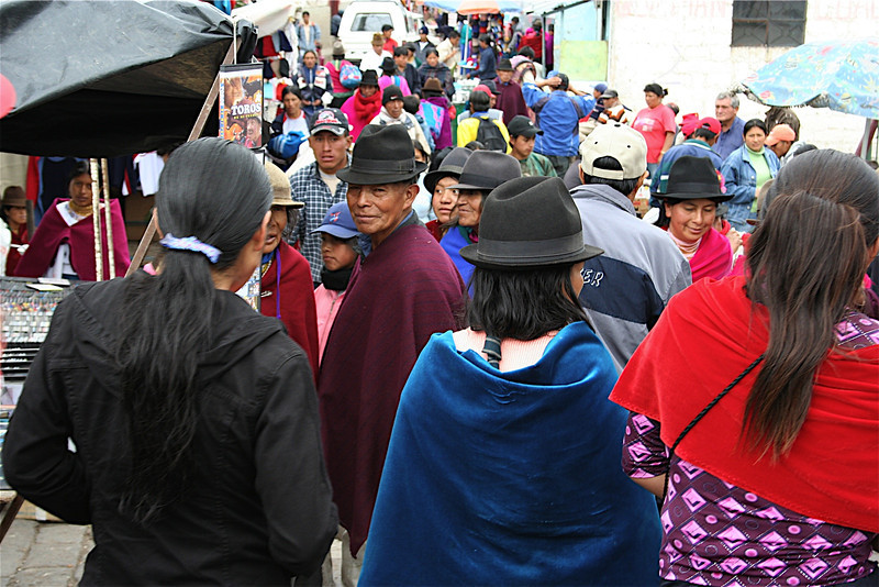 Ecuador Street market.  Most people out of the big cities where their traditional hats and clothing.<br /> This was taken when I was on route to Banos,