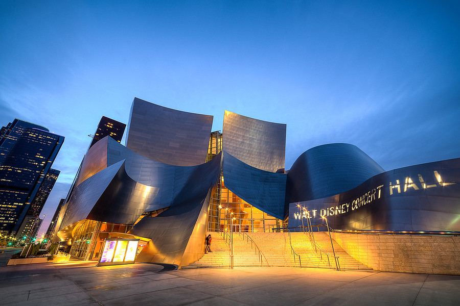 The Walt Disney Concert HallThis is probably the coolest building in Los Angeles. It was designed by the famous architect Frank Gehry in 1991 and construction began in 1999.I went out to shoot this location in HDR. I was really hoping it would rain to get nice slick reflections on the ground but the opposite happened. The weather cleared up giving me nice skies which I'm also happy with.