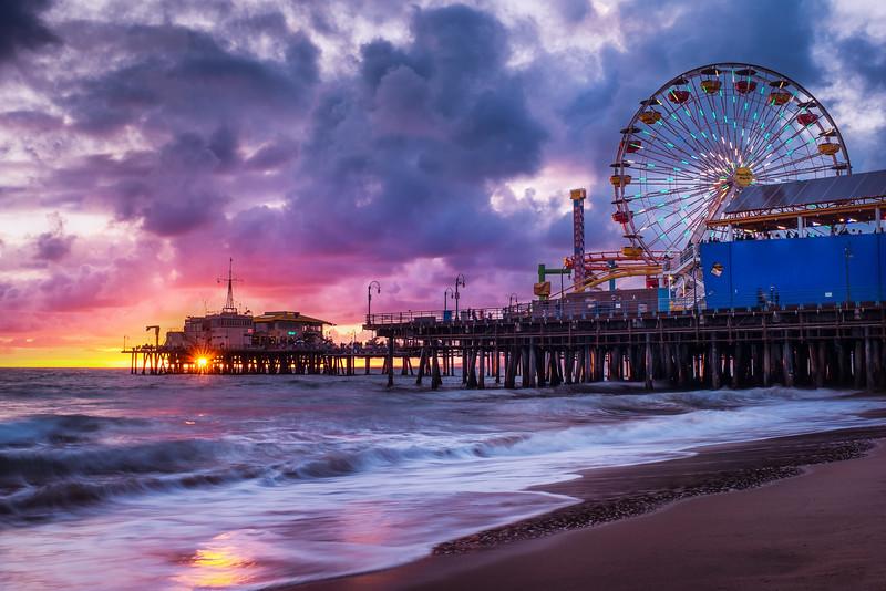 Sunset at the Pacific Park. Santa Monica, California.