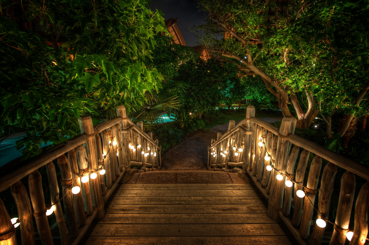 """Bridge Through Steamy Jungle Here's another photo from that Disney resort in Oahu.  I guess there's nothing about that make it Disney other than it's kinda cool and """"feels"""" right.  It makes me wish all bridges had little lights like this!Just in the distance there maybe you can make out a bit of light blue water.  That is part of a little lazy river that snakes around the property.  By this time, I was pretty tired and was really thinking about jumping on a raft while people handed me hors d' oeuvres while I floated by...- Trey Ratcliff Read the rest of this post at the Stuck in Customs blog."""