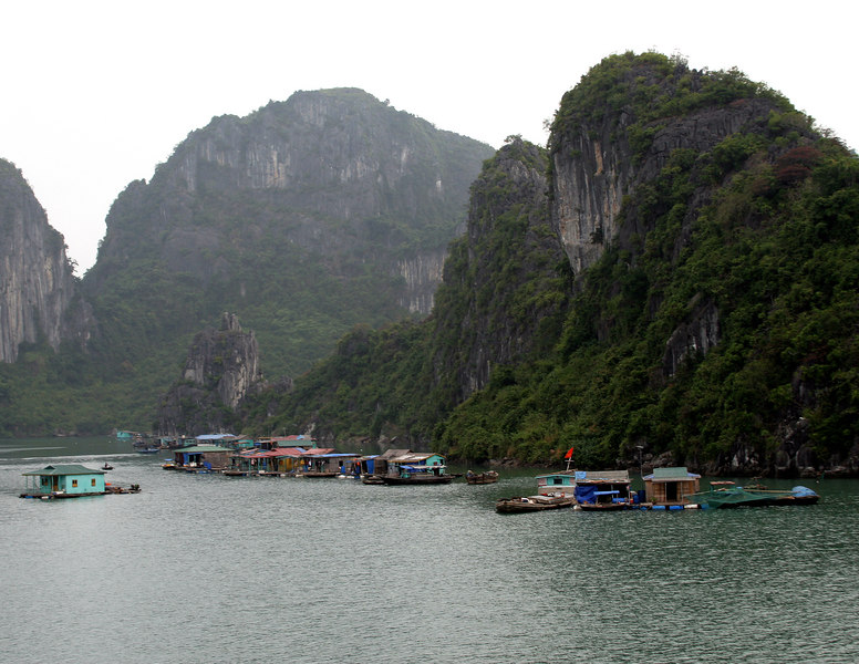 Ha Long Bay, VN -- Floating villages