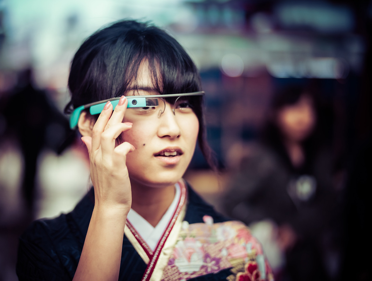 Google Glasses In Traditional Tokyo