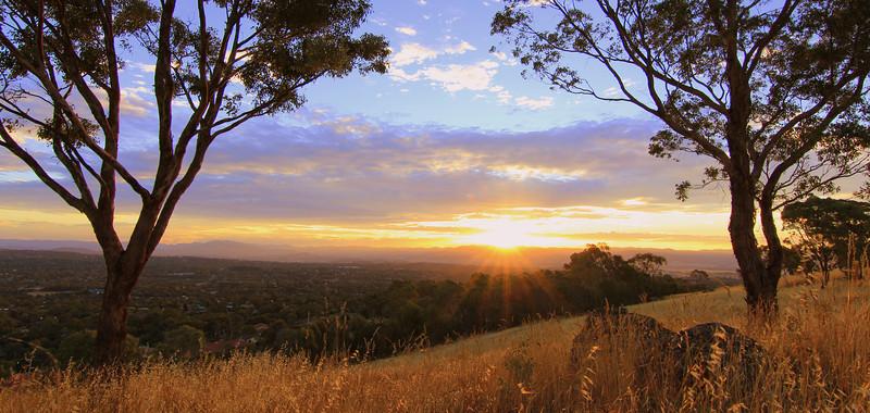 A golden sun sets over Mt Rogers, Canberra