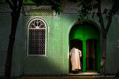 Entering the mosque