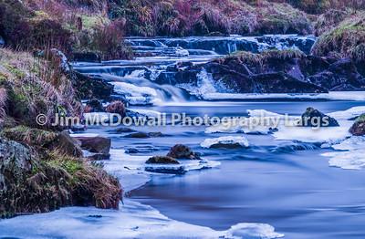 Frozen Scottish River in Winter.