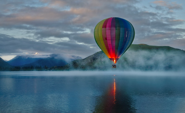 Balloon In Morning Mist Over Lake Hayes