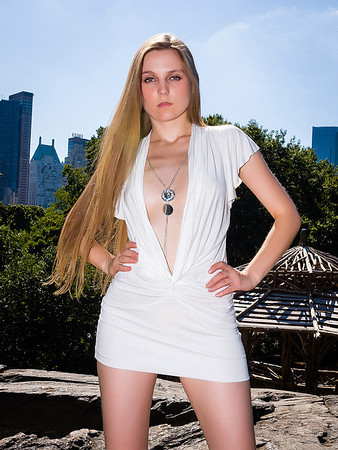 America Next Top Model with Sexy White mini dress