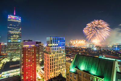 Fireworks over the Charles River from the 26th floor of the Westin Copley Hotel.