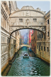 Bridge of Sighs, just after dawn. Prisoners were taken from the Palace (left) to the prison (right) over this bridge.