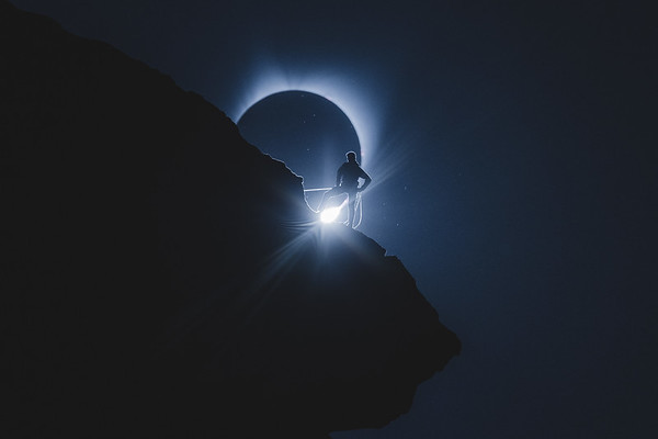 A Climber Enjoying Totality During the Eclipse