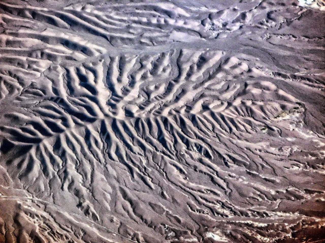 Above Nevada - mountain drainage patterns near Las Vegas NV
