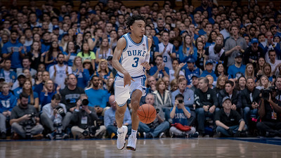 January 18, 2020: Duke Guard Tre Jones (3) during the NCAA Basketball game between the Louisville Cardinals and Duke Blue Devils at Cameron Indoor Stadium in Durham, NC.  Brian McWalters/CSM