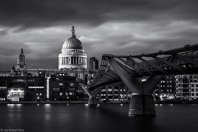 Black and White, St Paul's Cathedral, Millennium Bridge, River Thames, London, England