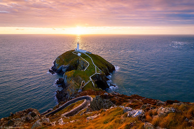 Sunset at the South Stack near Holyhead, Anglesey, Wales