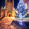 Bath Abbey, the Roman baths and Christmas Tree, Bath, Somerset, England