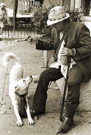 1985 film shot, Washington DC. Dog loves hobo