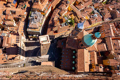 Looking Down, Two Towers, Church Santi Bartolomeo e Gaetano, Bologna, Italy