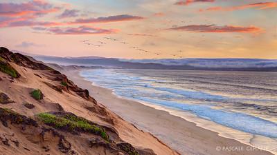 Flight over the sand dunes