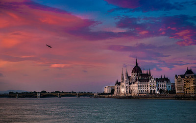 Parliament and the Danube River, Budapest, Hungary