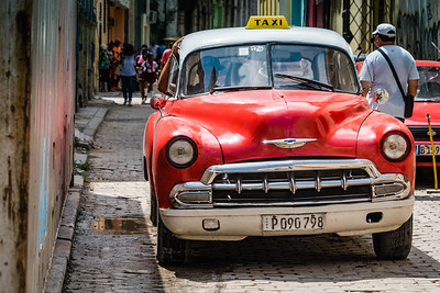 Red Classic Chevrolet Taxi in Havana