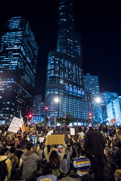 Protesters gather outside of Trump Tower the day following the 2016 Presidential Elections. | Colin Boyle/The Daily Northwestern