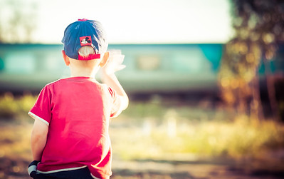 A boy and a train