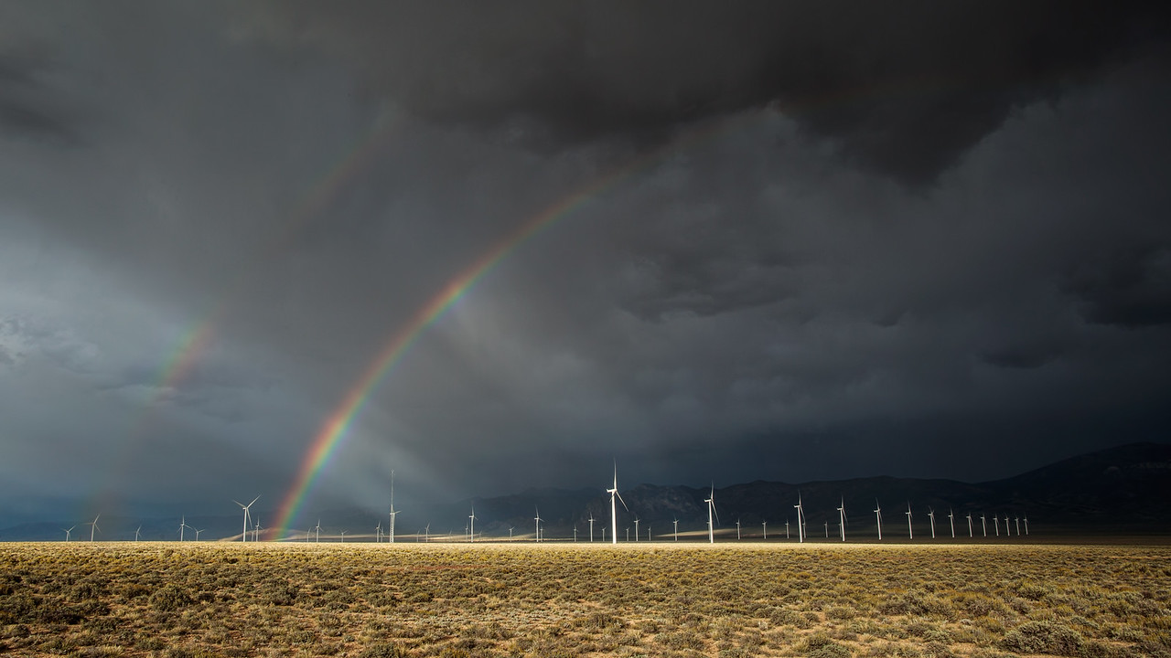 Double Rainbow Over A Nevada Wind Farm
