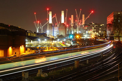 A Southern unit passees Grosvenor sheds under Battersea Power station with a London Victoria bound train on the 23rd November 2017