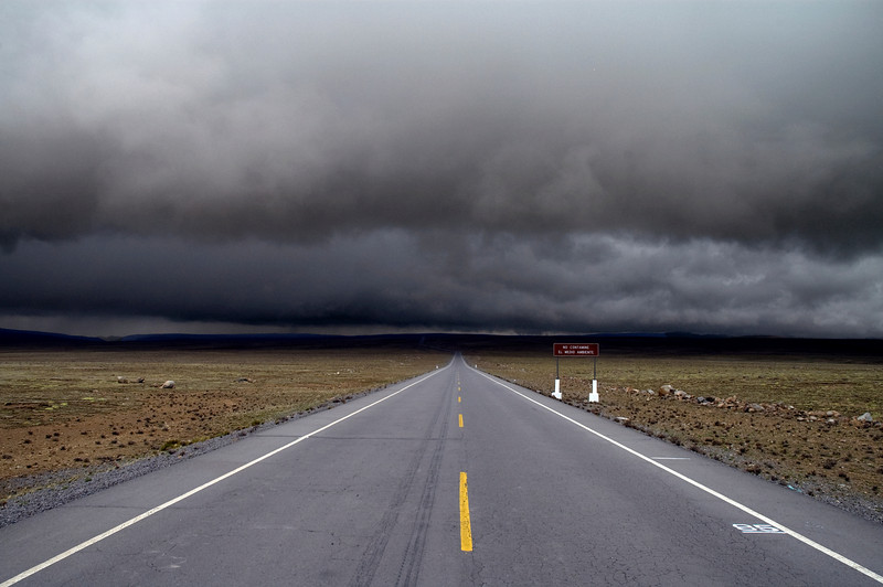 Driving into the storm in the Peruvian Andes