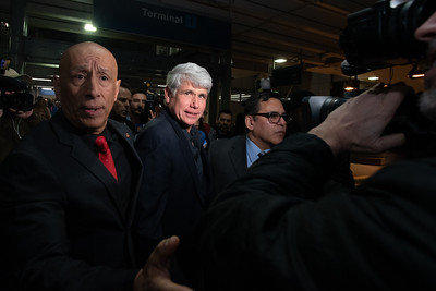 Ex-Governor of Illinois Rod Blagojevich is escorted out of O'Hare International Airport early Wednesday morning after his 14-year sentence for corruption was commuted by President Donald Trump on February 18, 2020. | Colin Boyle/Block Club Chicago