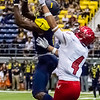 John Chaides / Lumberjack<br /> Northern Arizona University's Emmanuel Butler catches a long pass in a Big Sky Conference football game against Eastern Washington at Northern Arizona University's J. Lawrence Walkup Skydome on Saturday, September 8, 2018.