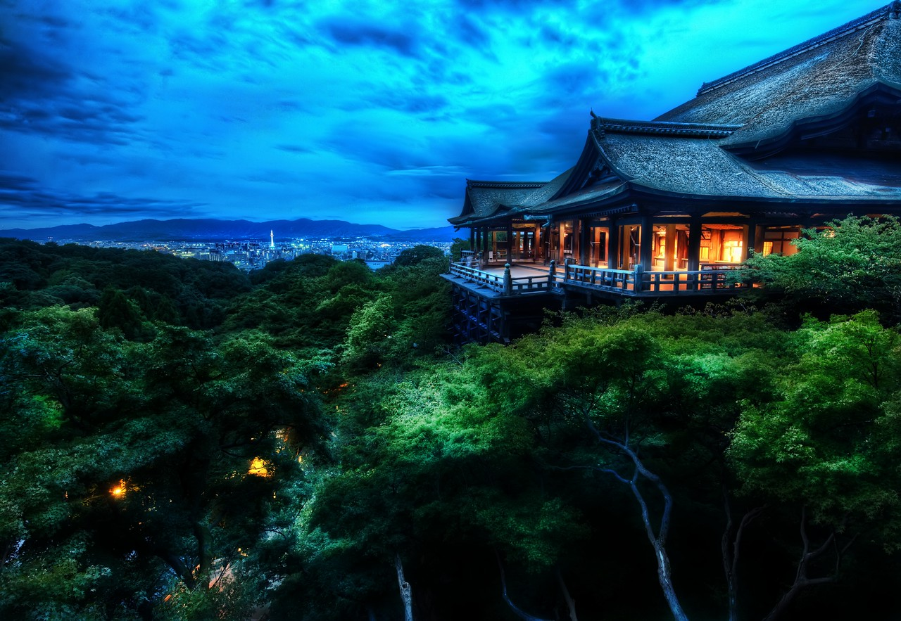 The Treetop Temple Protects Kyoto I'm just finishing up almost two weeks in Japan, and it has been an amazing trip! Usually I try not to start posting shots until the trip is at its close, and this is the first.While there, I spent time all over the country. I got a rail pass and just jumped on the bullet train to take me from one remote spot to another. I ended up with a few days in Tokyo to do my best to capture the city. I'll be posting photos from the trip throughout the next few weeks, months, and years, as usual. I hope this is a new line of photographs that will be interesting to you.Photographed here is the Kiyomizu-dera temple in Kyoto. The city is known for its traditional Japanese architecture, slower-paced life, natural beauty, graceful geishas, and zen peacefulness. I probably could have stayed in Kyoto capturing scenes the entire trip. I remained here until the sky turned black, and then I headed back down some winding streets to find an old small restaurant where the food was mysterious and every course was served with a gentle bow.- Trey RatcliffClick here to read the rest of this post at the Stuck in Customs blog.