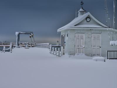 Snowed in boat house