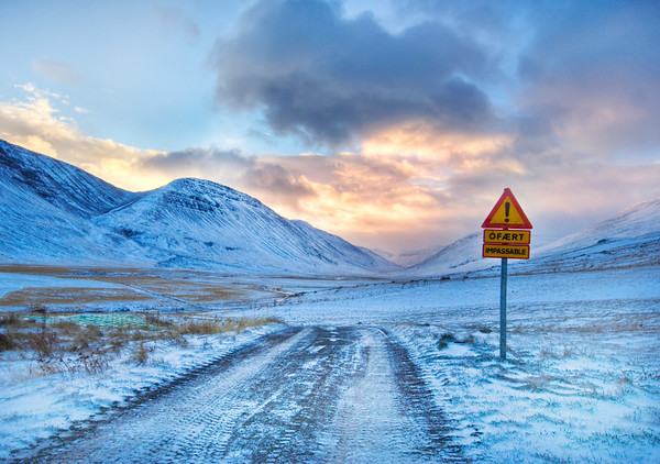 """Don't Worry Mom – The Roads in Iceland Aren't That Bad I drove up to the extreme north of Iceland yesterday to do some serious exploration. I told my mom not to worry… the roads are not too bad. I know that sign says """"Impassable"""", but that sign is clearly for other people, or it is written in Icelandic and means something completely different in English.I could try to describe how cold it is, but I will not. - Trey RatcliffClick here to read the rest of this post at the Stuck in Customs blog."""