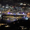 Night Departure of Ovation of the Seas, Wellington, 5th March 2020