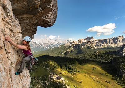 Lynne Hempton climbing 'Via 'Myriam'