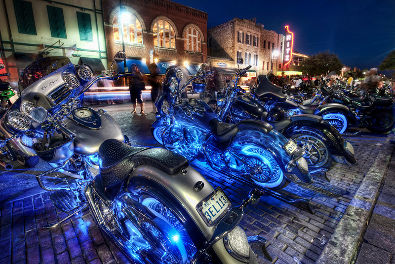"""The Harleyfest on 6th Street This is one of the best times in Austin for HDR Photography!  I really think it's perfect perfect conditions to really show off what this style of photography can do.  Long exposures just don't do the trick.  The wonderful thing about being there is that the human eye really can see all these colors and light levels at the same time.  At least... to those of us that see like this.  I'm convinced that after talking to countless groups that not everyone """"sees"""" in the same way.  It's not that one way is better than another - just different. What do you think?- Trey RatcliffClick here to read the rest of this post at the Stuck in Customs blog."""